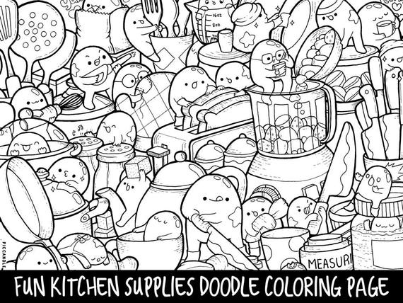 free art supply coloring pages | Kitchen Supplies Doodle Coloring Page Printable Cute/Kawaii