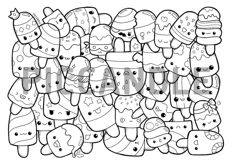 Popsicle Doodle Coloring Page Printable Cute/Kawaii ...