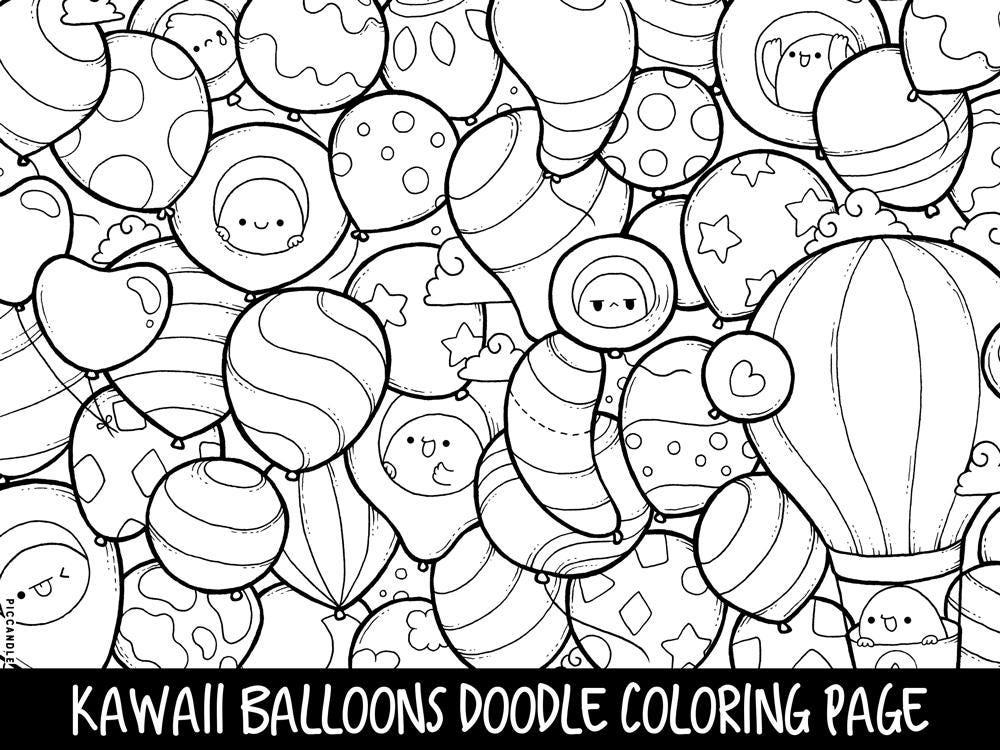 Balloons Doodle Coloring Page Printable CuteKawaii