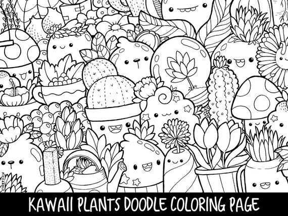 Plants Doodle Coloring Page Printable Cute/Kawaii Coloring Etsy