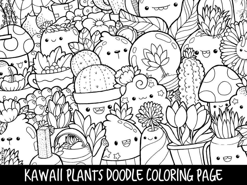 Plants Doodle Coloring Page Printable Cute/Kawaii Coloring | Etsy