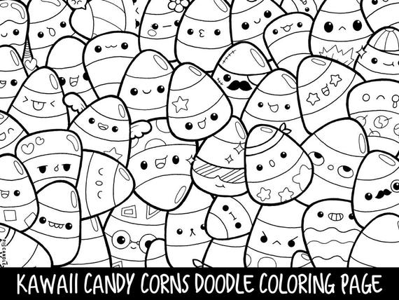 Candy Corns Doodle Coloring Page Printable Cute/Kawaii | Etsy