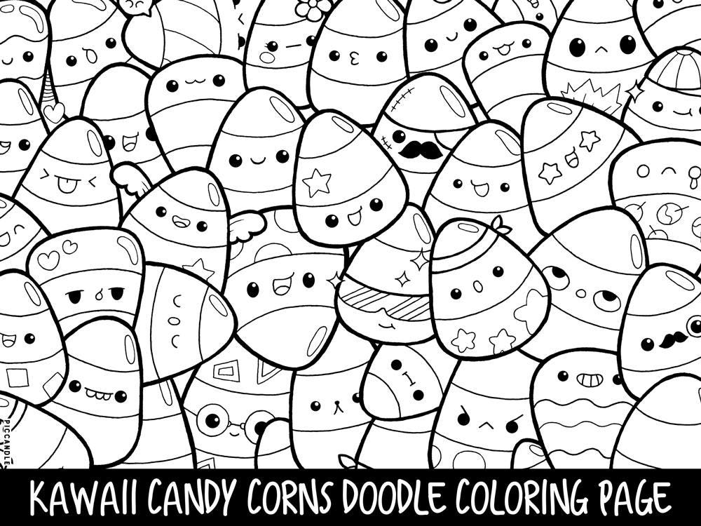 Candy Corns Doodle Coloring Page