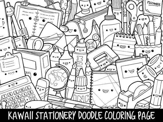 Stationery Doodle Coloring Page Printable CuteKawaii Etsy