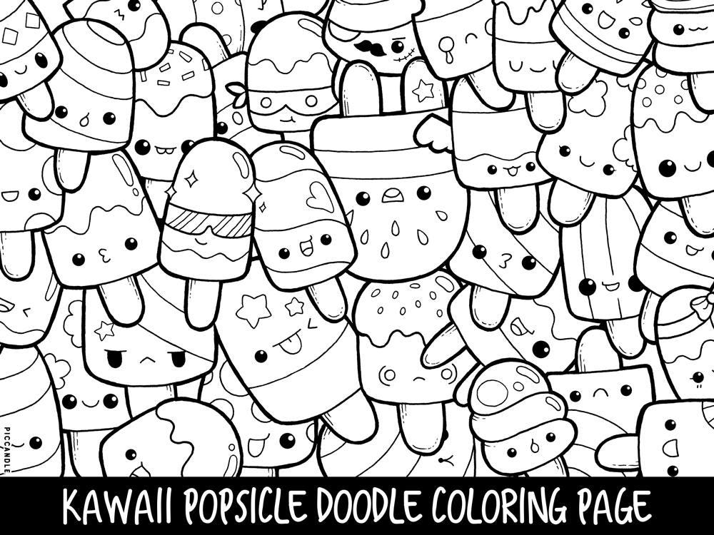 Popsicle Doodle Coloring Page Printable Cute Kawaii Coloring Etsy