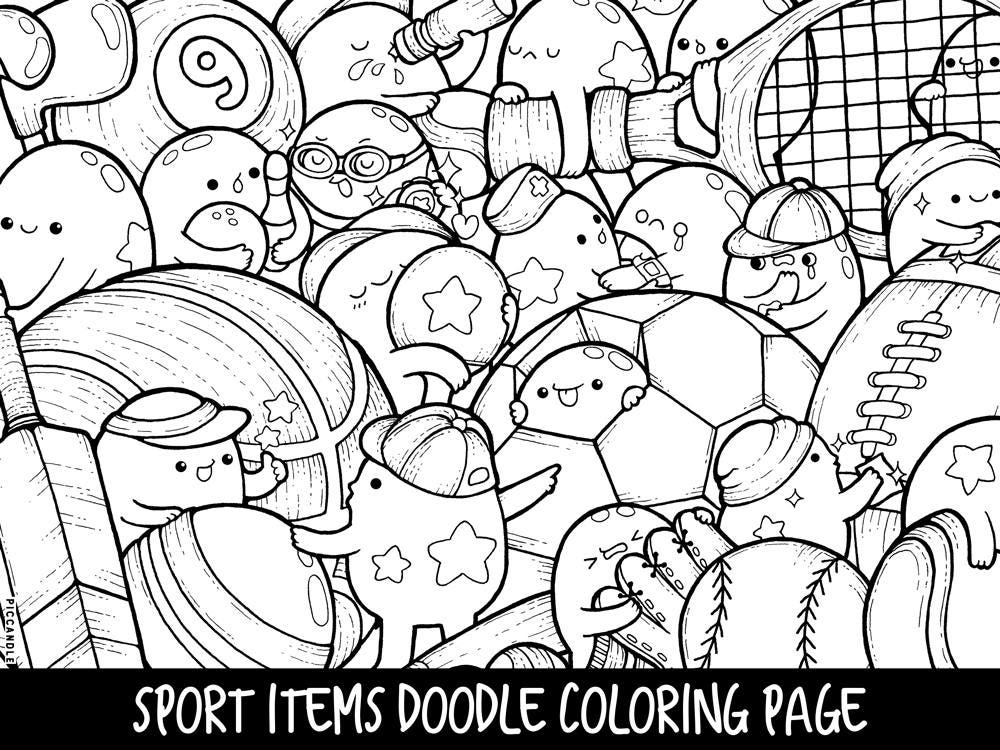 Sports coloring pages for adults ~ Sport Items Doodle Coloring Page Printable Cute/Kawaii | Etsy