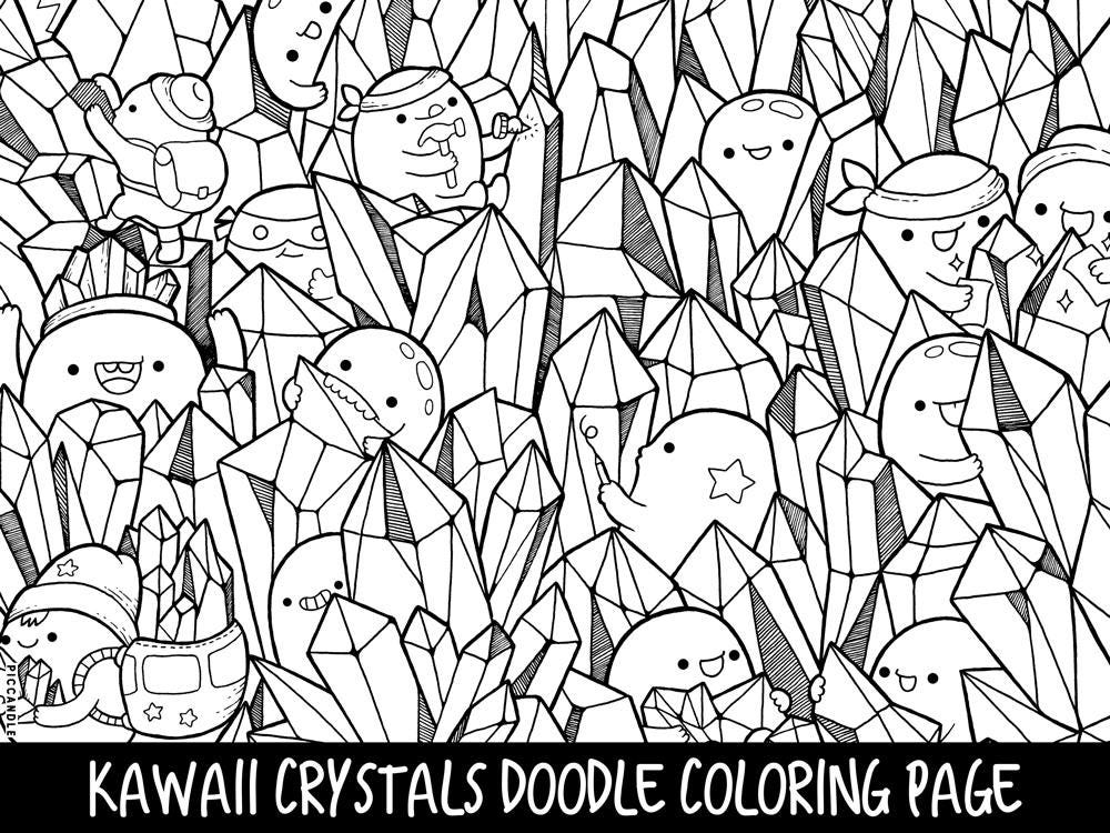 Crystals Doodle Coloring Page Printable Cute/Kawaii Coloring | Etsy