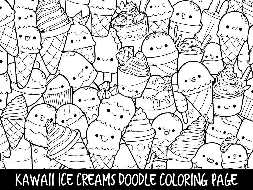 Ice Creams Doodle Coloring Page Printable Cute/Kawaii | Etsy