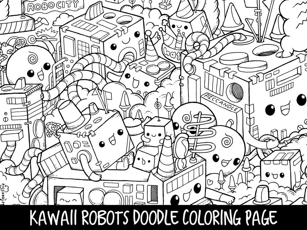 Robots Doodle Coloring Page Printable Cute Kawaii Coloring Page For Kids And Adults