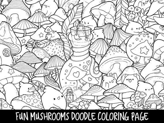 Mushrooms Doodle Coloring Page Printable Cute Kawaii Etsy