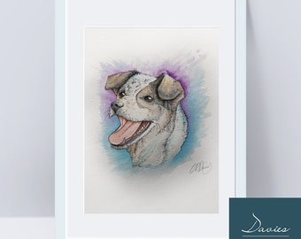 Custom pet portrait commission, Custom dog and Cat portrait in Watercolor, pen & ink from photographs. Original pet painting. Made to order.