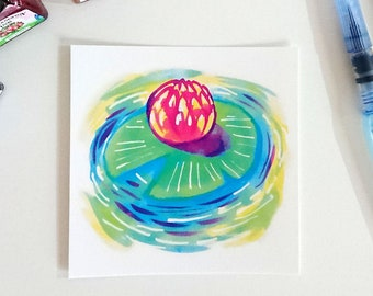 Primary waterlily, square postcard
