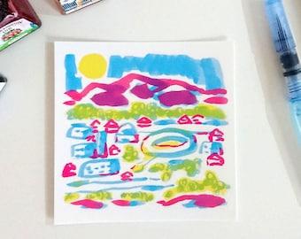Primary mountain city, square postcard