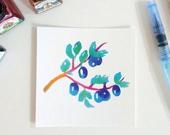 Primary plum tree, square postcard