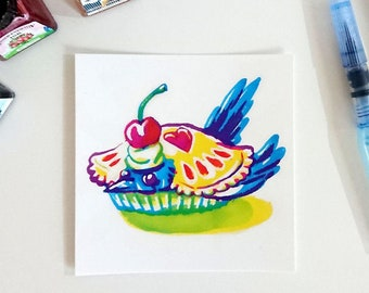 Primary (mag)pie, punny square postcard