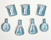 Laboratory glassware, set of 7 transparent vinyl stickers
