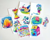 Primary colors, set of 10 square postcards