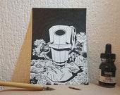 The trashbin - Original ink illustration