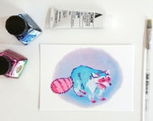 Pink and blue raccoon, postcard A6-format