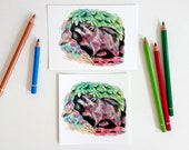 Colored pencil raccoon, postcard squared or A6-format