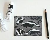 Skunks, postcard A6-format