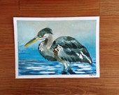 Heron - Original illustration (blue background)