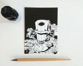 Raccoons around the trash bin, postcard A6-format