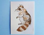Shiny raccoon - Iridescent watercolor illustration
