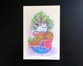 Cat in a plant - original illustration