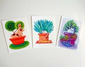 Animals in flower pots, set of 2 postcards A6-format