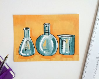Laboratory glassware, postcard A6-format