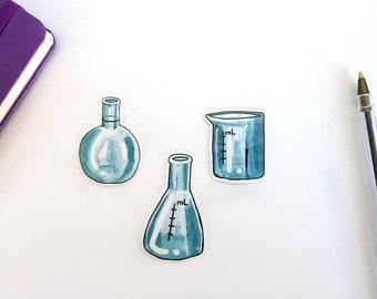 Laboratory glassware, set of 3 transparent vinyl stickers