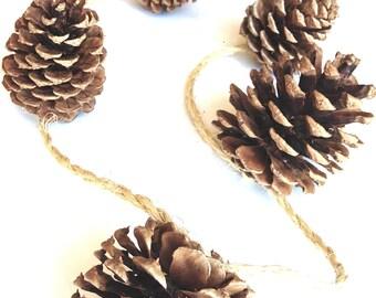 Rustic PineCone Garland/Handmade Pine Cone Garland /PineCone Ornaments/Rustic Wedding Garland/Mantel Decor/Fireplace/Pinecone Decorations