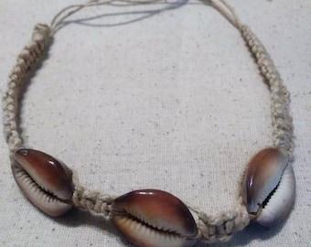 His/Her Hemp Macrame Cowrieshell Necklace