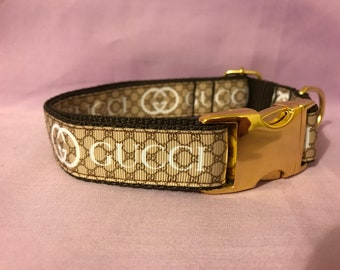 a068f9e5462598 Gucci Inspired Dog Collar with Gold