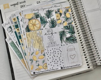 Citrus & Herb DELUXE Kit || VERTICAL || Weekly Sticker Kit for Erin Condren Life Planner || 8 Pages, 230+ Stickers