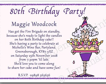 10 Printed Personalised Birthday Party Invitations 30th 40th 50th 60th 70th 80th 90th 100th Female Funny With Envelopes