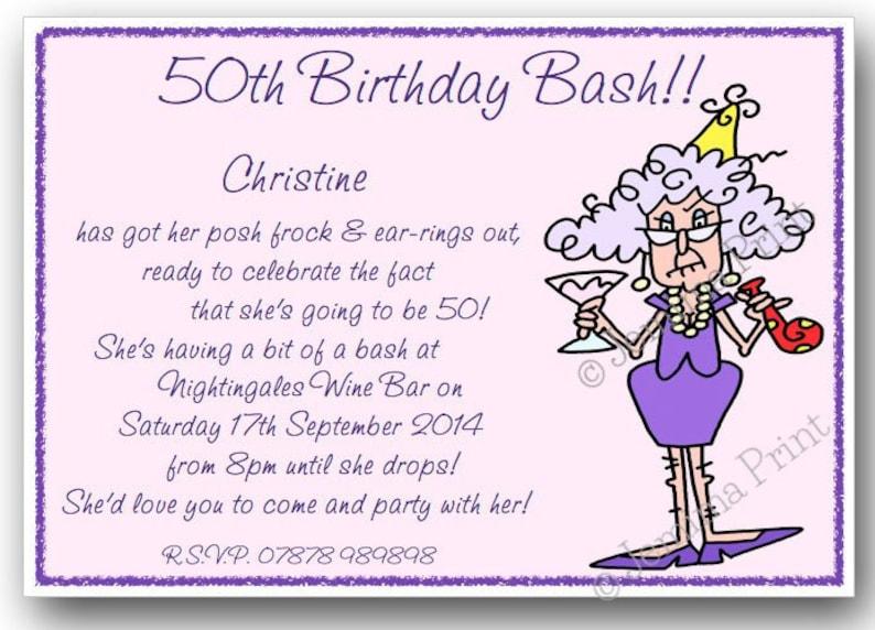 10 Printed Personalised Birthday Party Invitations 30th 40th 50th 60th 70th 80th 90th 100th Female Funny With Envelopes