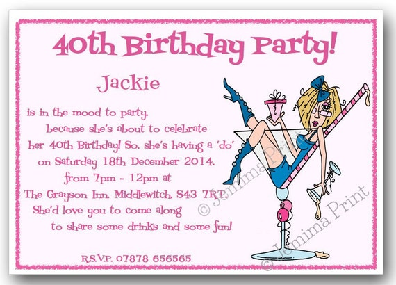 10 Printed Personalised Birthday Party Invitations 18th 21st