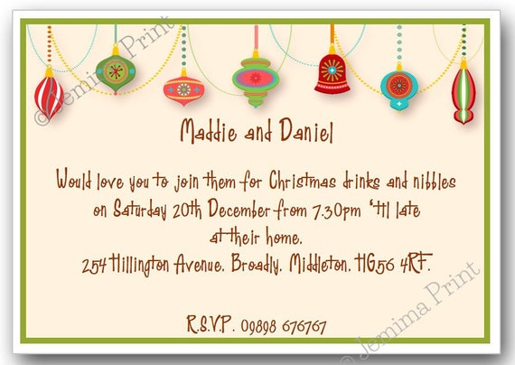 10 Printed Personalised Christmas Party Celebration Drinks Invitations With Envelopes