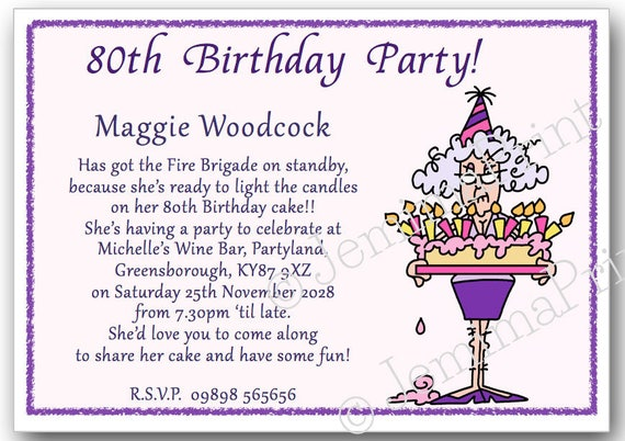 10 Printed Personalised Birthday Party Invitations 30th 40th