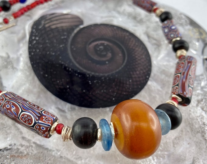 Featured listing image: Venetian Millefiori trade beads amber necklace /  red white hearts / Thai silver / boho / gift for her / statement / unique / antique beads