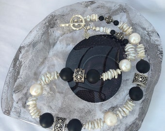 Gift for her Statement mother of bride Thai silver fringe necklace with grey freshwater pearls and silver puff heart