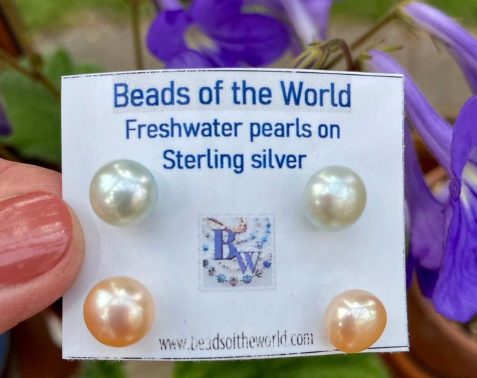 Featured listing image: Set of two freshwater button pearl stud earrings on sterling silver posts