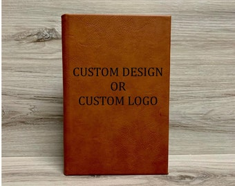 Personalized Leatherette Lined Journal with Logo, Personalized Leatherette Notebook