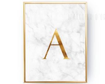 Monogram - Initial Gold Foil Print - Marble Card - Modern Room Decor - Contemporary Wall Art - Custom Foiled Print