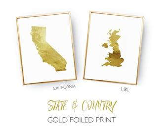 State - Country Gold Foil Print - Custom Foil Print - Contemporary Wall Art - Modern Room Decor - Wall Art Inspiration