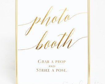 Photo Booth Wedding Sign, Hand Foiled Print , Reception Sign, Wedding Gold Foil Sign,