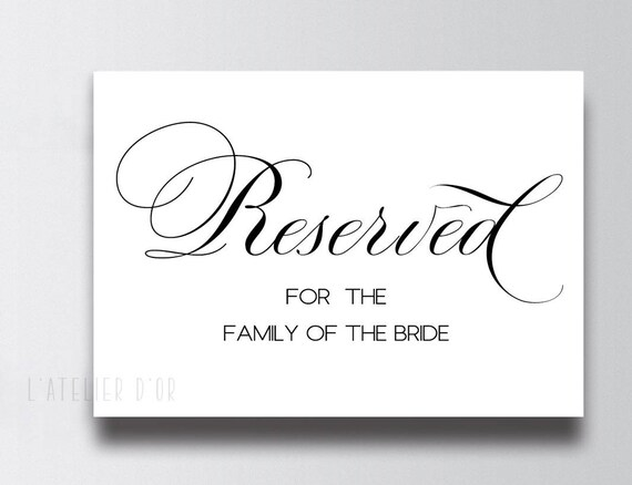 Reserved For The Family Of The Bride Sign Wedding Printable Etsy