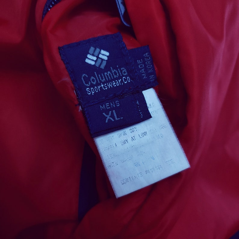 Columbia XL Reversible Puffer Jacket Red Blue Navy Bomber Duck Down Nylon Radial